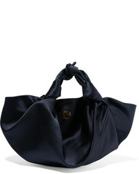 The Row Ascot Satin Tote Midnight Blue