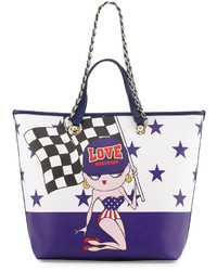 Love Moschino Saffiano Faux Leather Tote Bag Blue