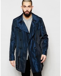 Asos Brand Trench Coat In Two Tone Fabric In Navy