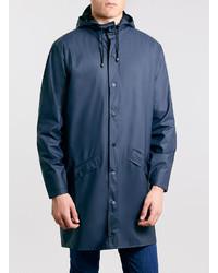 Rains Blue Long Waterproof Jacket