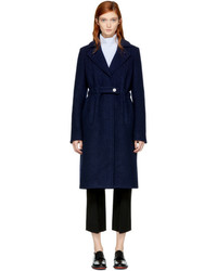 Carven Blue Long Wool Trench Coat