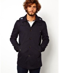 Asos Brand Hooded Trench Coat In Navy