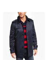 Express Navy Cotton Trench Coat Blue Medium