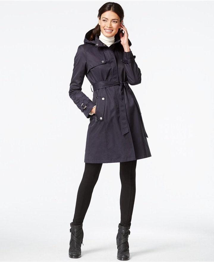 b081e1743 ... DKNY Hooded Belted Trench Coat ...