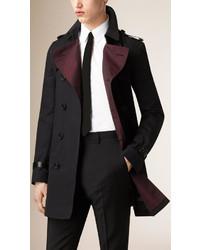 Burberry Lambskin Detail Cotton Gabardine Trench Coat