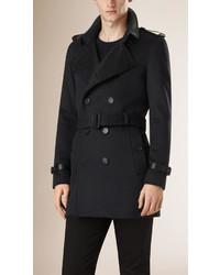 Burberry Lambskin Detail Virgin Wool Cashmere Trench Coat