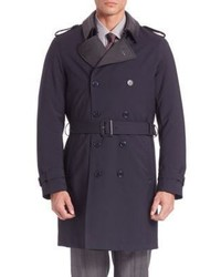 Pal Zileri Long Sleeve Virgin Wool Trench Coat