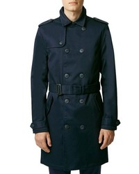 Topman Navy Bonded Twill Trench Coat