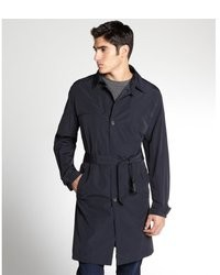 Prada Navy Cotton Blend Belted Raincoat