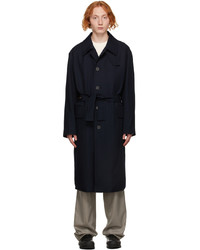 Solid Homme Navy Minimal Wool Trench Coat