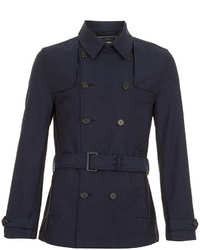 Topman Navy Full Length Trench Coat