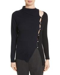 Asymmetrical button front turtleneck sweater medium 5361326