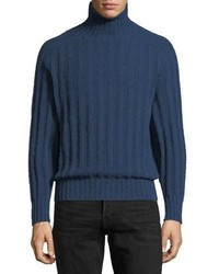 Brushed cashmere ribbed turtleneck sweater medium 5207186