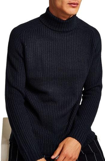 Topman Flint Ribbed Turtleneck Sweater