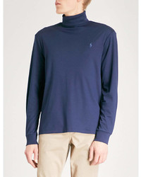 Polo Ralph Lauren Logo Embroidered Turtleneck Cotton Jersey Top