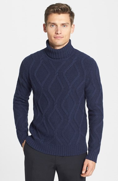J. Lindeberg Lucas Cable Knit Turtleneck Sweater | Where to buy ...