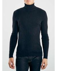 Topman Navy 2x2 Rib Turtle Neck Sweater