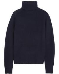 Prada Nubuck Trimmed Cashmere Turtleneck Sweater Navy