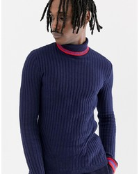 ASOS DESIGN Ribbed Roll Neck Jumper With Tipping In Navy