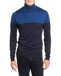 John Smedley Slim Fit Colorblock Merino Wool Turtleneck Sweater