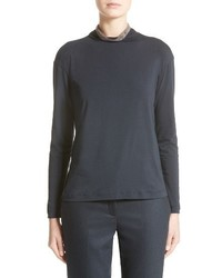 Stretch jersey turtleneck top medium 4471911