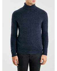 Topman Premium Navy Lambswool Turtle Neck Sweater