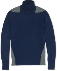 Alexander McQueen Two Tone Wool Silk And Cashmere Blend Rollneck Sweater