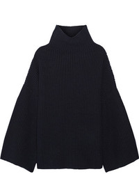 Violina ribbed cashmere turtleneck sweater navy medium 4393229