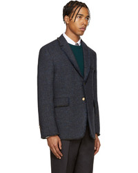 Thom Browne Navy Tweed Frayed Blazer