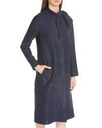 Lela Rose Sequin Tweed Tie Neck Coat