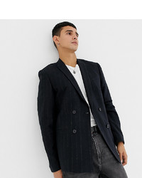 Noak Slim Fit Harris Tweed Blazer Jacket In Navy