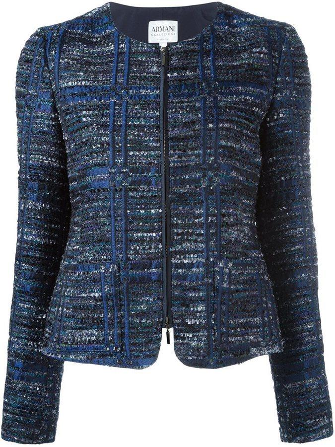 10f7b1333950 ... Navy Tweed Jackets Armani Collezioni Zip Up Tweed Jacket