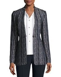 Elie Tahari Bonnie Tweed Blazer Jacket Navy