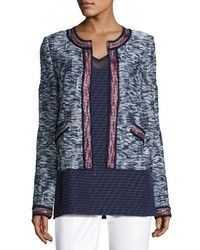 St. John Collection Asha Tweed Knit Zip Front Jacket Blue Pattern
