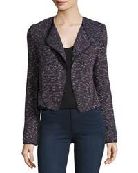 Long sleeve tweed cardigan jacket navy medium 4400746