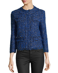 Michael Kors Michl Kors Tweed Bracelet Sleeve Cropped Jacket