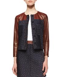 Theory Tieron Leather Sleeve Tweed Jacket