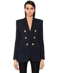 Balmain Double Breasted Wool Twill Long Blazer