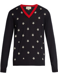 Gucci Bee Jacquard V Neck Wool Sweater