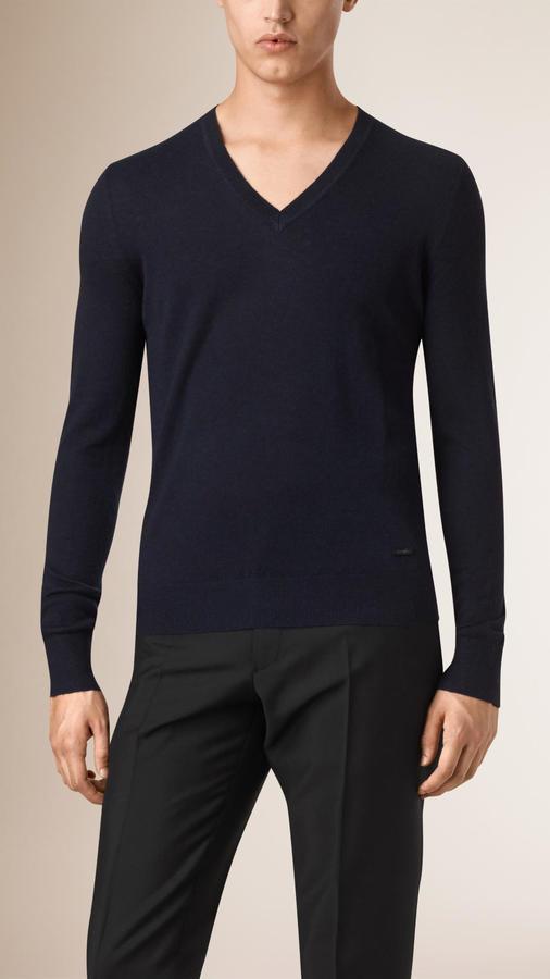 bac8557b40f $595, Burberry Cashmere V Neck Sweater