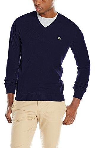 Cotton Jersey V Neck Sweater Lacoste PCOqHq