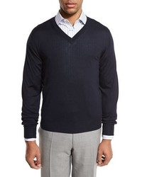 Essential fine gauge v neck sweater navy blue medium 1149308