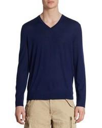 Polo Ralph Lauren Extra Fine Merino Wool Silk Cashmere V Neck Sweater