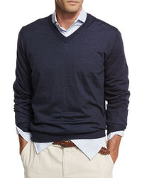 Brunello Cucinelli Fine Gauge Tipped V Neck Sweater