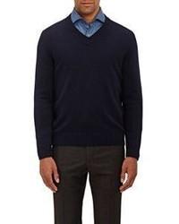 Fioroni Cashmere V Neck Sweater Navy Size S