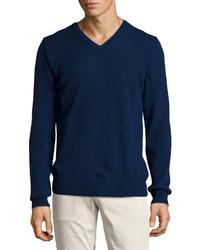 J. Lindeberg J Lindeberg V Neck Merino Cashmere Sweater Navy ...