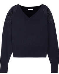 Chloé Merine Guipure Lace Trimmed Wool And Cashmere Blend Sweater Navy