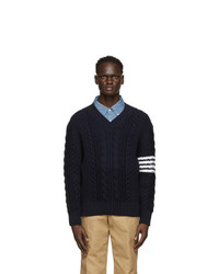 Thom Browne Navy Aran Cable 4 Bar V Neck Sweater