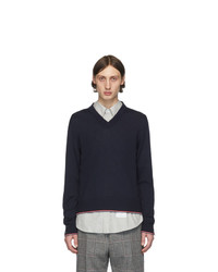 Thom Browne Navy Cashmere Classic V Neck Pullover