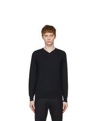 Loro Piana Navy Cashmere Superlight V Neck Sweater